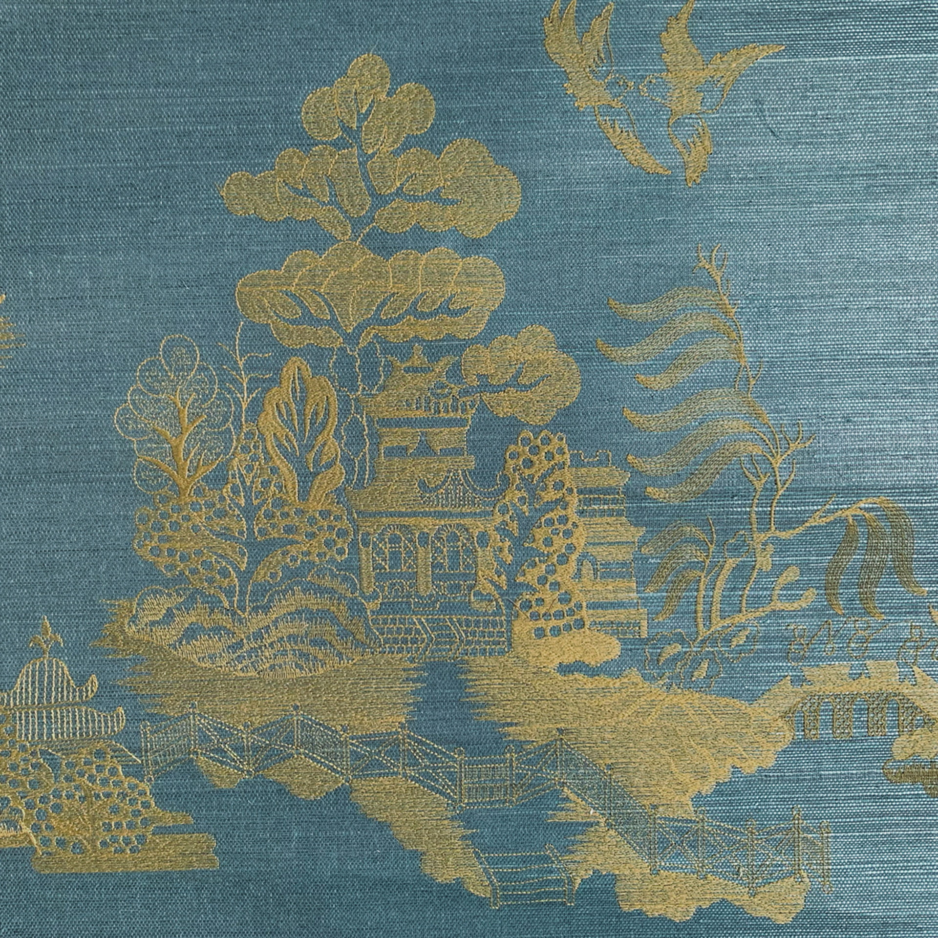 La Pagode embroidered grass cloth in Brunschwig & Fils Les Ensembliers collection.