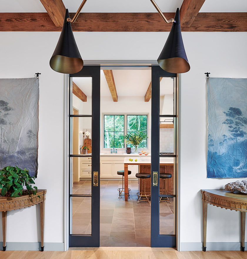 Pocket doors separate the kitchen from the great room.