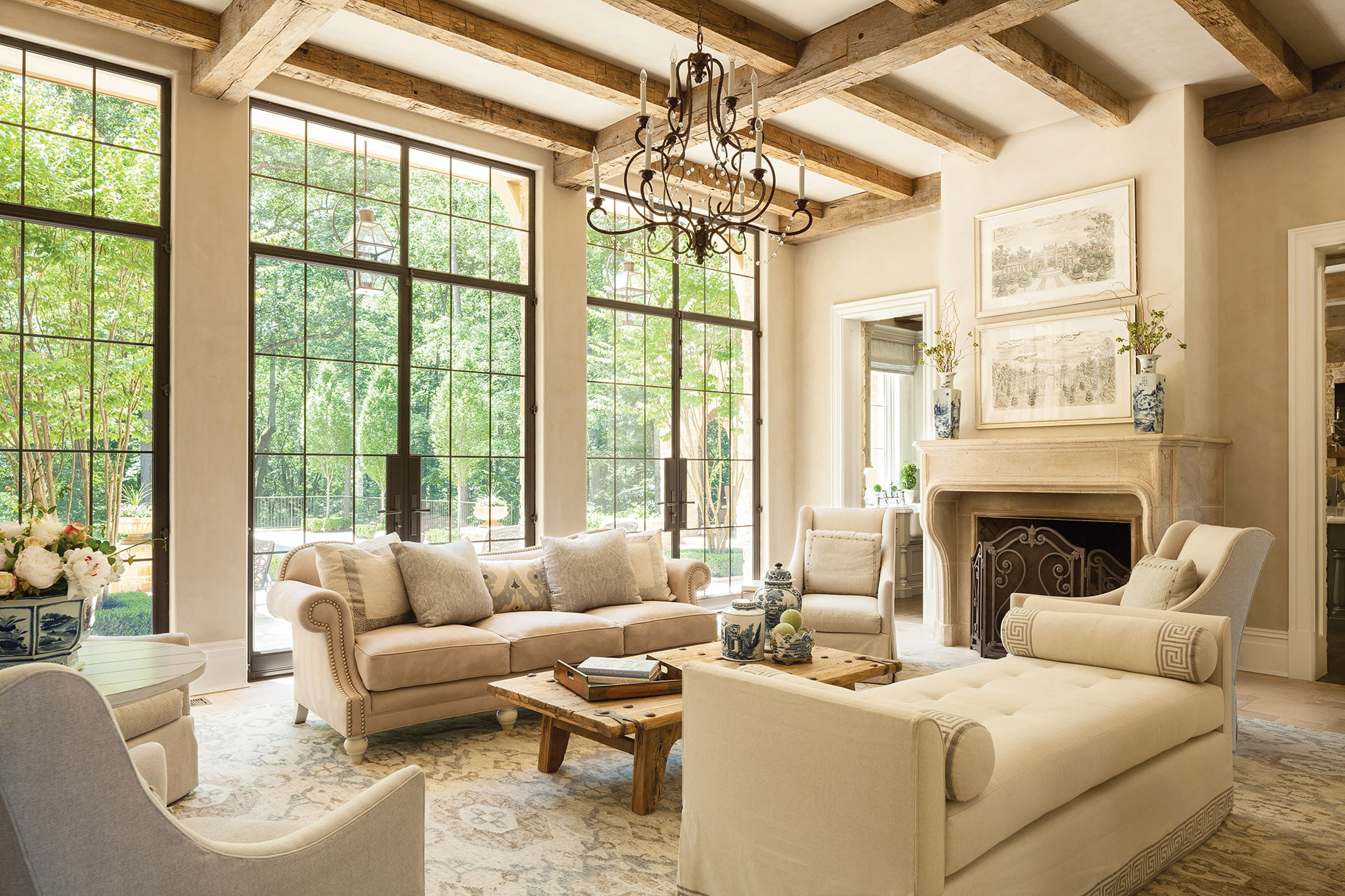 Great room serves as both living and family room.