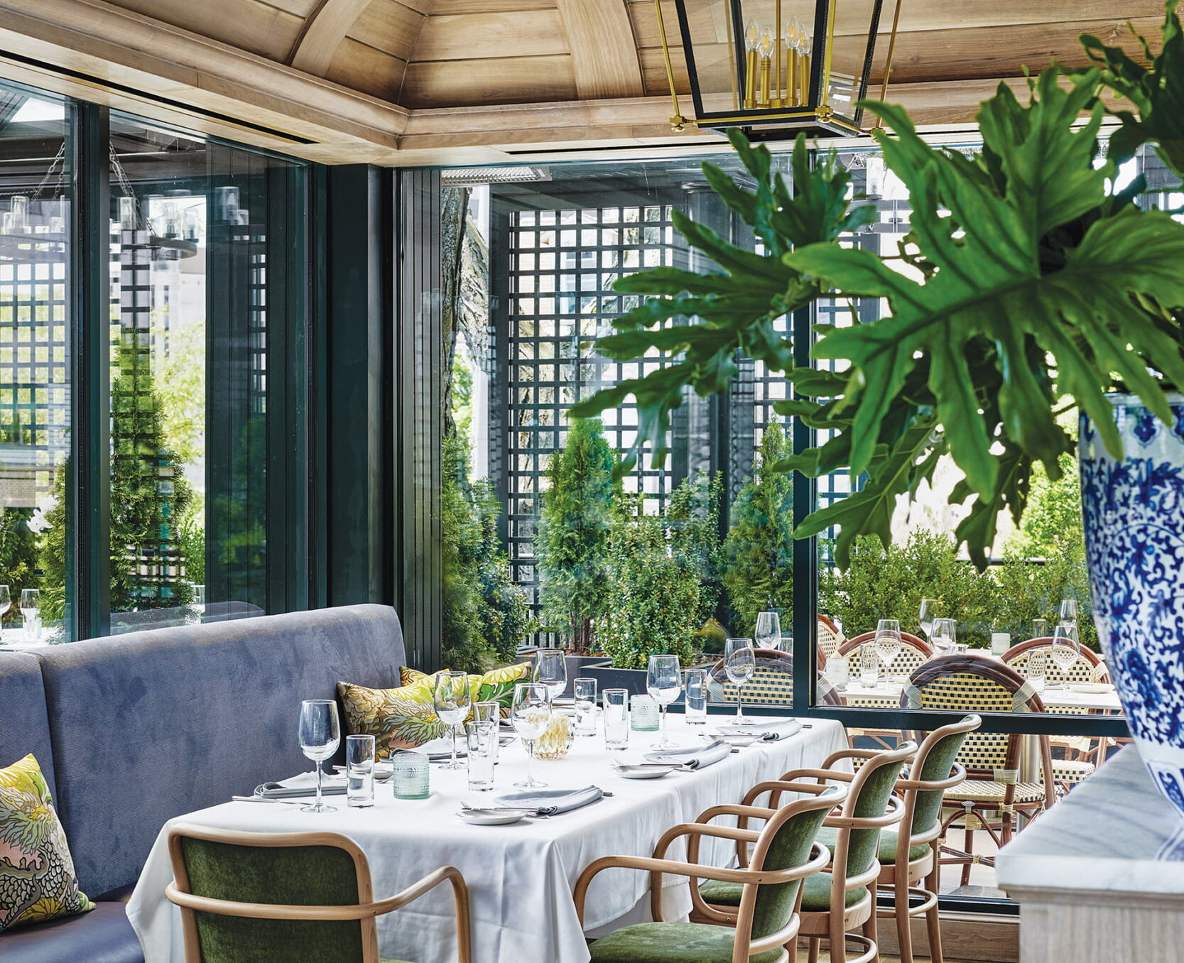 Perennial's conservatory-like dining room.