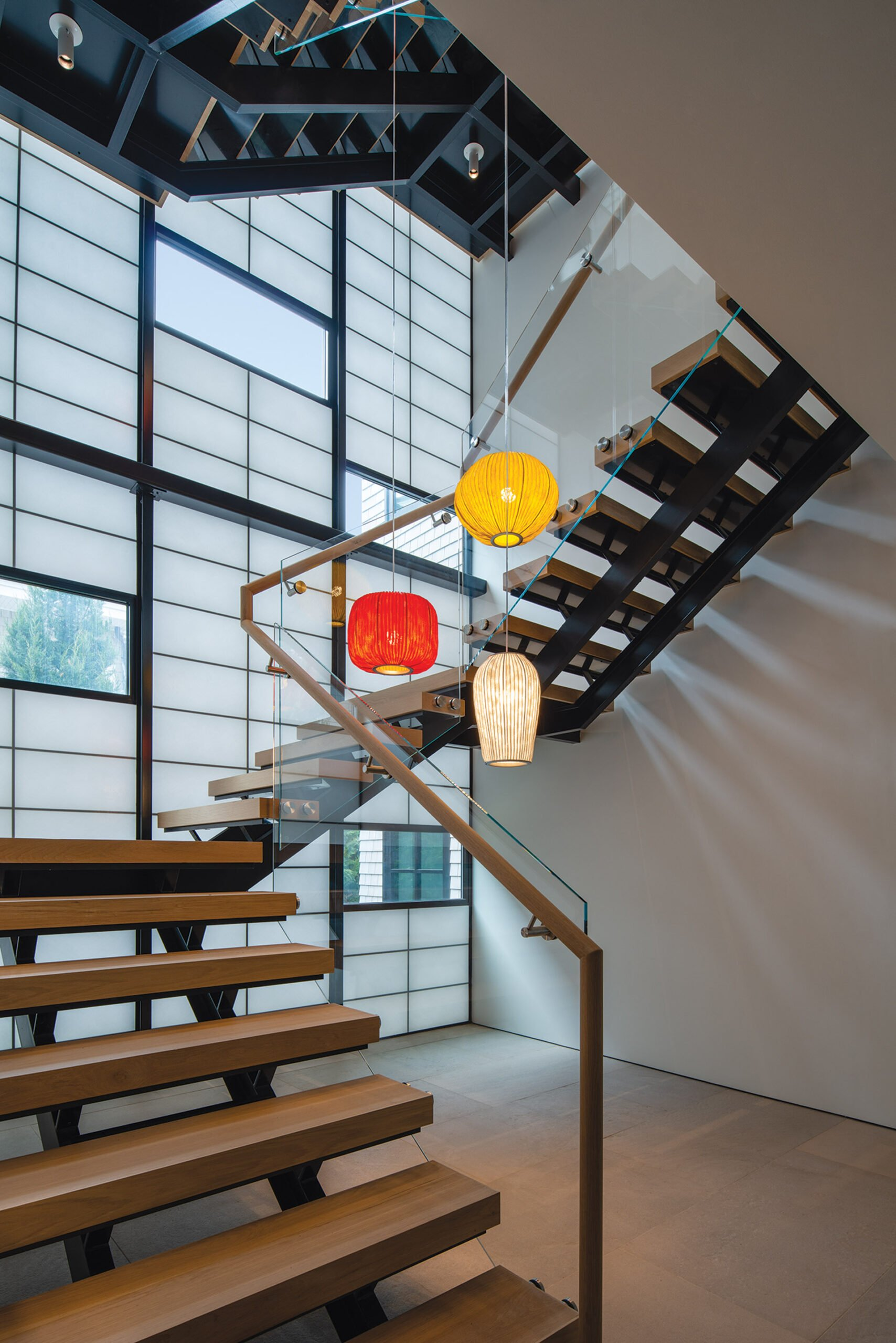 Kalwall panels maintain privacy while flooding the stairwell with light.