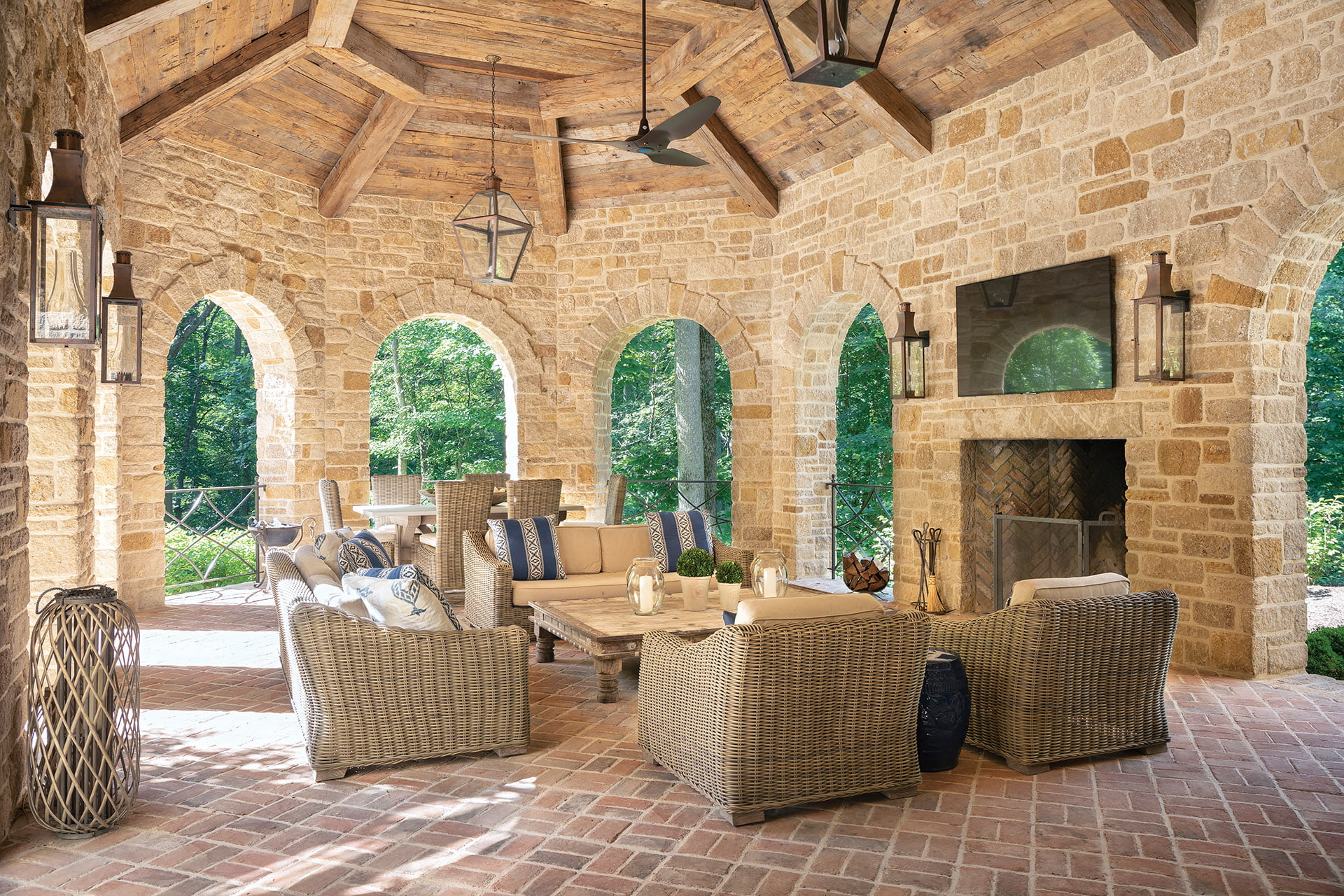 Limestone walls of loggia rise nearly 13 feet to vaulted timber ceiling.
