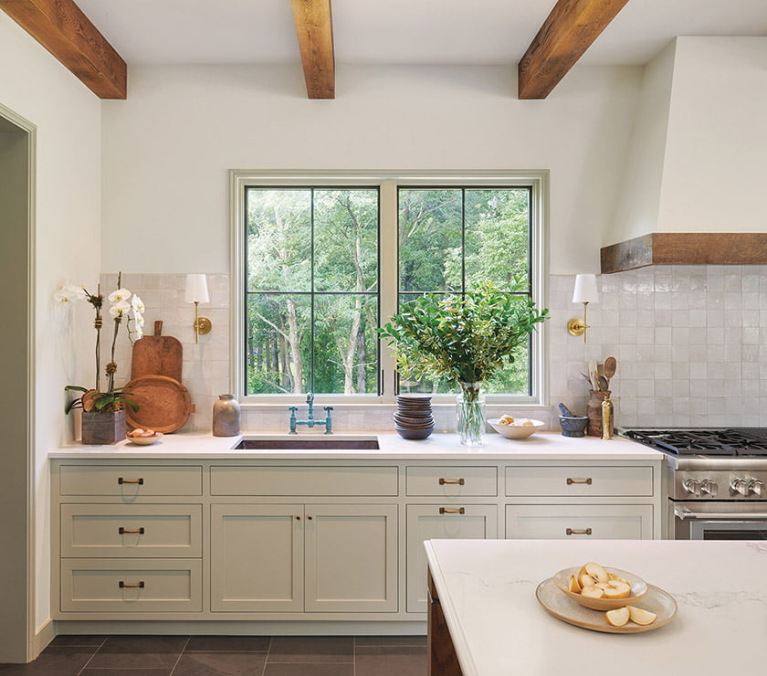 Two large windows light kitchen