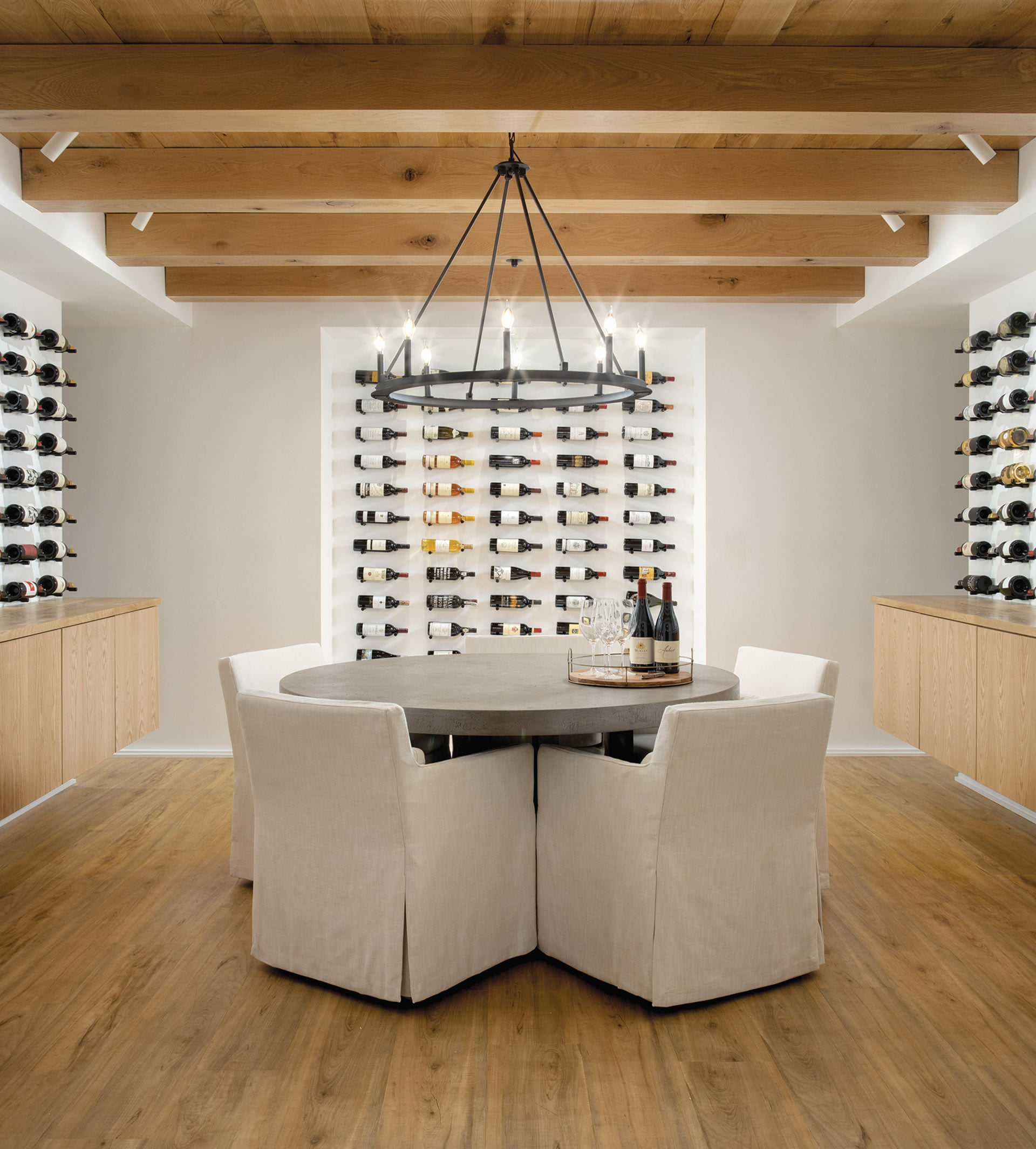 Wine cellar features a tasting room